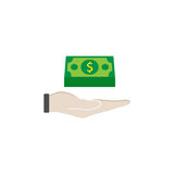 Moneys in hand flat icon, finance and business. Bundle of money sign vector graphics, a colorful solid pattern on a white background, eps 10 Royalty Free Stock Photo