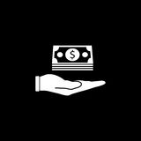 Moneys in hand solid icon, finance and business. Bundle of money sign vector graphics, a filled pattern on a black background, eps 10 Royalty Free Stock Photography