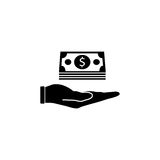 Moneys in hand solid icon, finance and business. Bundle of money sign vector graphics, a filled pattern on a white background, eps 10 Stock Image