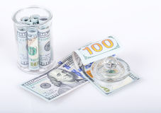 Moneys in jar Stock Images