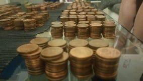 Moneytable, centesimi Fotografie Stock Libere da Diritti