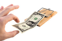 Moneytrap-1. Mousetrap with a 100 american dollars as a bait Royalty Free Stock Image