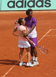 Monfils and Schiavone at Roland Garros 2011 Stock Photo