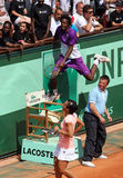 Monfils and Schiavone at Roland Garros 2011 Royalty Free Stock Image