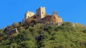 Monfort Castle opposite Goren Park. North of Israel Royalty Free Stock Photo