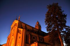 Monforte church at sunset Stock Photos