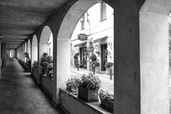 Monforte d'Alba (Cuneo); old alley. Black and white photo Royalty Free Stock Image