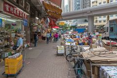 Mong_Kok gatamarknad Royaltyfri Foto