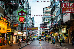 Busy street in Hong Kong downtown Royalty Free Stock Photography