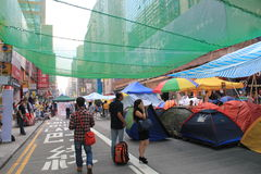 Mong Kok umbrella movement in Hong Kong Stock Image