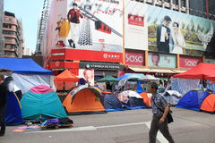Mong Kok umbrella movement in Hong Kong Stock Photo