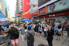 Mong Kok umbrella revolution in Hong Kong Royalty Free Stock Photos