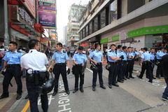 Mong Kok umbrella revolution in Hong Kong Royalty Free Stock Photo