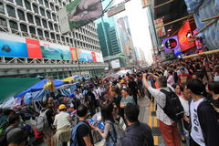 Mong Kok umbrella revolution in Hong Kong Stock Photo
