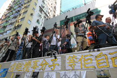 Mong Kok umbrella revolution in Hong Kong Royalty Free Stock Images