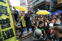 Mong Kok umbrella revolution in Hong Kong Stock Photos
