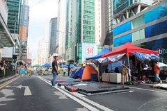 Mong Kok umbrella revolution in Hong Kong Royalty Free Stock Photography