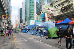 Mong Kok umbrella revolution in Hong Kong Stock Images