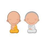 Monge bonito Cartoon Symbol Vetora de Ásia Fotos de Stock
