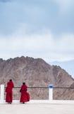 Monge budista no Mountain View de tibet Himalaya Imagem de Stock