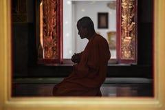Monge budista tailandesa que chanting foto de stock royalty free