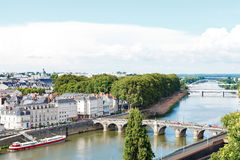Monge Quai and bridges in in Angers city, France Stock Photography