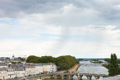 Monge Quai herein in Anges-Stadt, Frankreich stockbild