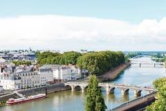 Monge Quai und Brücken herein in verärgert Stadt, Frankreich stockfotografie