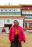 Monge tibetana idosa Foto de Stock Royalty Free