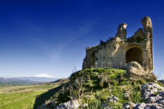 Mongialino's Castle. Mongialino Castle very old medieval castle in Mineo country - Catania - Sicily - Italy Royalty Free Stock Images