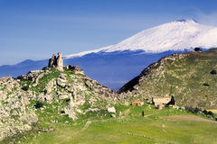 Mongialino's Castle and Etna Volcano Royalty Free Stock Photos