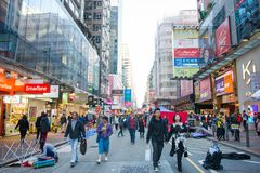 Mongkok,香港- 2018年1月11日:购物人群的人和 库存照片