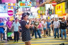 Mongkok, Hong Kong - 22 de setembro de 2016: O cantor está cantando em w Imagens de Stock