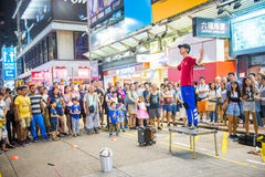 Mongkok Hong Kong, Wrzesień, - 22, 2016: śmieszny przedstawienie na odprowadzeniu Zdjęcie Stock