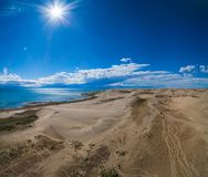 Mongol Els The sand dunes and lake Durgen Nuur stock photography