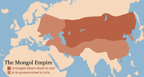 Mongol Empire Conquest Map Fotos de Stock