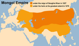 Mongol Empire Genghis Khan. Genghis Khan's Mongol Empire in 1227 and at its greatest extent in 1279. Vector illustration Stock Images
