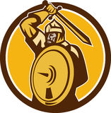 Mongol Horde Barbarian Warrior Sword Circle Retro Royalty Free Stock Photos