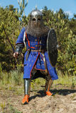 Mongol horde warrior. In armour holding traditional saber royalty free stock image