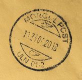 Mongol post stamp. Post stamped envelope from Mongol post stock photography
