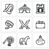 Mongol-Tatar yoke icons set. Vector Illustration. Royalty Free Stock Images