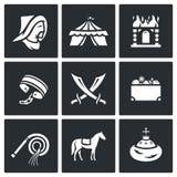 Mongol-Tatar yoke icons set. Vector Illustration. Royalty Free Stock Photography