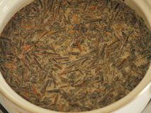 Mongol tea with milk. On pot stock photography
