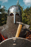 Mongol warrior in armour. Mongol horde warrior in armour holding traditional axe stock photos