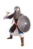 Mongol warrior in armour. Mongol horde warrior in armour holding traditional axe stock photo