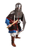 Mongol warrior in armour. Mongol horde warrior in armour holding traditional axe royalty free stock images
