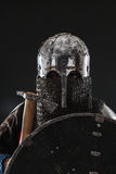 Mongol warrior in armour. Mongol horde warrior in armour holding traditional axe royalty free stock image