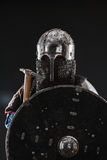 Mongol warrior in armour. Mongol horde warrior in armour holding traditional axe royalty free stock photo
