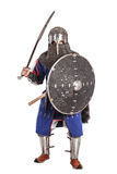 Mongol warrior in armour. Mongol horde warrior in armour holding traditional saber stock photos