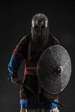 Mongol warrior in armour. Mongol horde warrior in armour holding traditional saber royalty free stock images